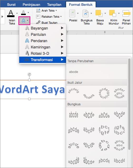 Tab Format Bentuk dengan opsi Efek Teks disorot.