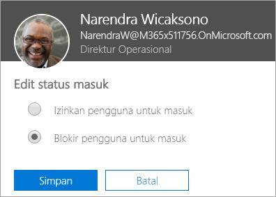 Cuplikan layar masuk kotak dialog status di Office 365