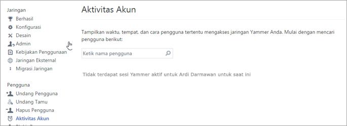 Cuplikan layar aktivitas akun untuk pengguna yang memperlihatkan tidak aktif Yammer sesi (log out)