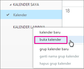 Outlook Web App membuka menu kalender