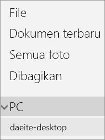 Navigasi sisi kiri portal OneDrive yang menampilkan menu PC yang diperluas