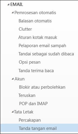 Tanda tangan Email Outlook di web