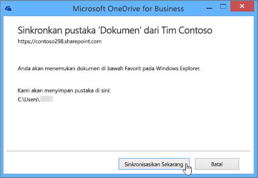 Pilih tombol Sinkronkan sekarang untuk mulai menyinkronkan file dari situs tim Anda ke desktop Anda.