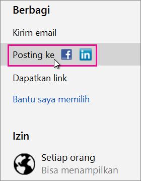 Tentukan jejaring sosial untuk diposting