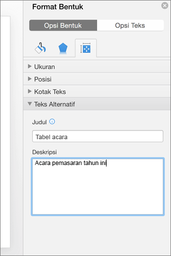 Cuplikan layar panel Format Bentuk dengan kotak Teks Alt yang menjelaskan tabel yang dipilih
