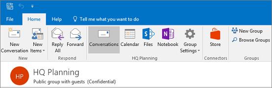 Ini adalah apa yang terlihat seperti header grup di Outlook 2016