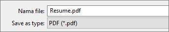 Pilih PDF di kotak Simpan sebagai tipe.
