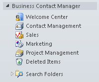 Folder Business Contact Manager yang diperluas di Panel Navigasi