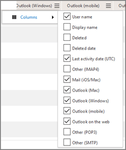 Cuplikan layar: laporan penggunaan aplikasi email office 365 - pilih kolom