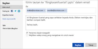 Mengirim link ke presentasi Anda melalui email
