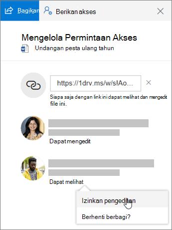 Cuplikan layar bagian Berbagi dari panel Detail untuk file bersama.