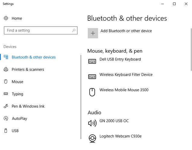 Bluetooth dan pengaturan perangkat lain