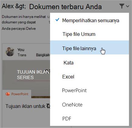 Cuplikan layar halaman dokumen terbaru dengan daftar filter yang terbuka.