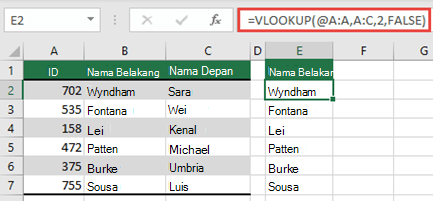 Gunakan operator @, dan salin ke bawah: = VLOOKUP (@ A:A, A:C,2, FALSE). Gaya referensi ini akan berfungsi dalam tabel, namun tidak akan mengembalikan array dinamis.
