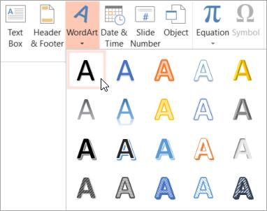 Memilih gaya WordArt pada tab Sisipkan