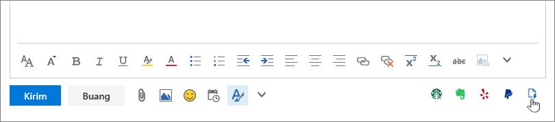 Cuplikan layar area pesan email, di sebelah bawah area isi, dengan kursor mengarah ke ikon Templat saya di ujung kanan bawah.