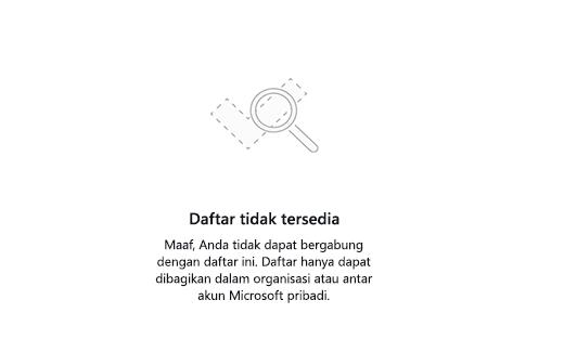 Cuplikan layar memperlihatkan pesan kesalahan daftar tidak tersedia
