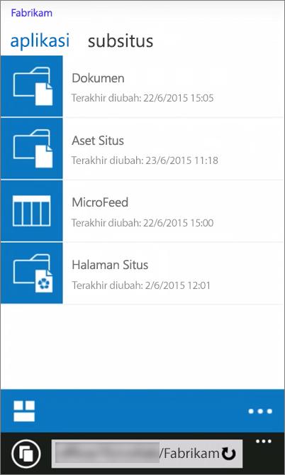 Cuplikan layar tampilan seluler situs SharePoint Server 2016