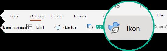 Tombol ikon pada tab Sisipkan di PowerPoint untuk web.