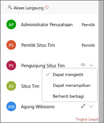 Cuplikan layar link akses langsung