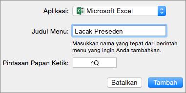 Contoh pintasan keyboard kustom Office 2016 untuk Mac