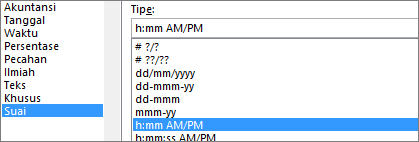Kotak dialog Format sel, perintah Kustom, tipe h:mm AM/PM