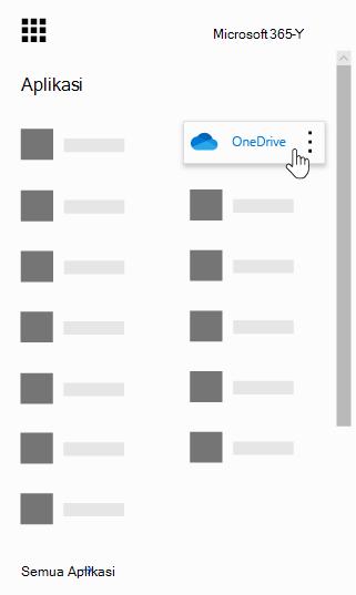 Peluncur aplikasi Office 365 dengan aplikasi OneDrive disorot