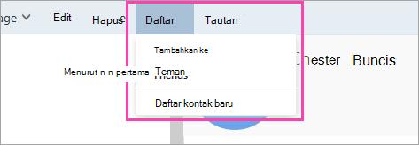 Cuplikan layar tombol Daftar