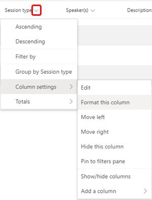 Opsi menu format kolom ini