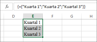 Konstanta array vertikal yang menggunakan teks