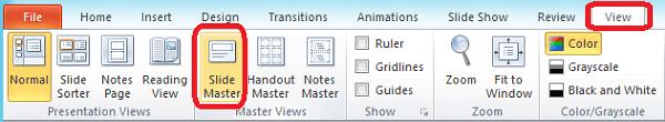 Tab Tampilan di PowerPoint, tempat Anda dapat beralih ke tampilan Master Slide