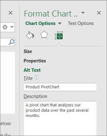 Cuplikan layar area Teks Alt dari panel Format Area Bagan menjelaskan PivotChart yang dipilih