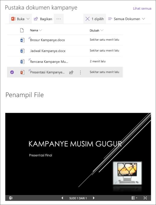 Contoh komponen web penampil File tersambung ke pustaka dokumen
