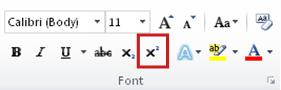 perintah superskrip dalam grup font