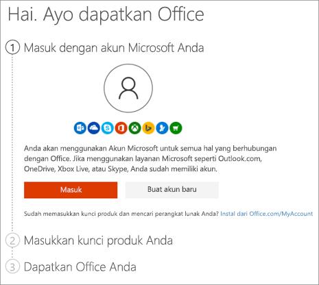 Memperlihatkan halaman setup.office.com tempat Anda dapat menukarkan kunci produk