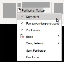 Perlihatkan opsi Daftar markup