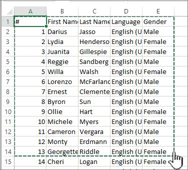 Lembar bentang Excel dengan rentang disorot