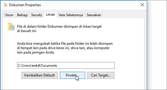 Cuplikan layar memperlihatkan menu properti dokumen di File Explorer.