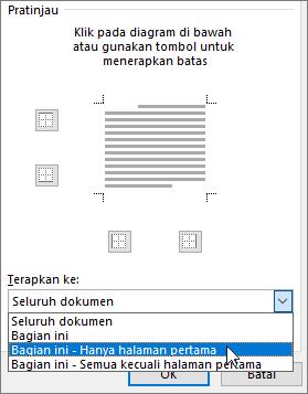 Memperlihatkan opsi Terapkan Ke dalam kotak dialog Batas dan Bayangan