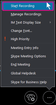 Selama rapat Skype for Business, klik Mulai Merekam