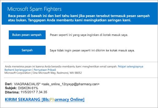 Cuplikan layar pejuang Spam email