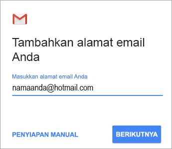 Memasukkan alamat email Anda