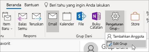 Cuplikan layar tombol Pengaturan Grup di pita