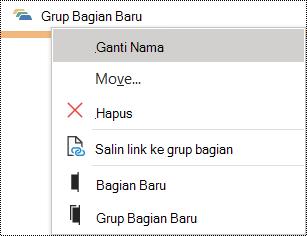 Dialog Ganti nama grup bagian di OneNote untuk Windows