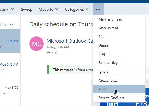 Cuplikan layar menu Tindakan lainnya dengan kursor di atas tombol Cetak