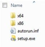 Struktur folder pemilih platform untuk instalan Office 2010 64-bit.