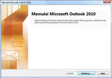 Jendela startup Outlook 2010