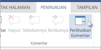 Gambar perintah Perlihatkan Komentar di bawah tab Komentar dalam Tampilan Baca Word Web App