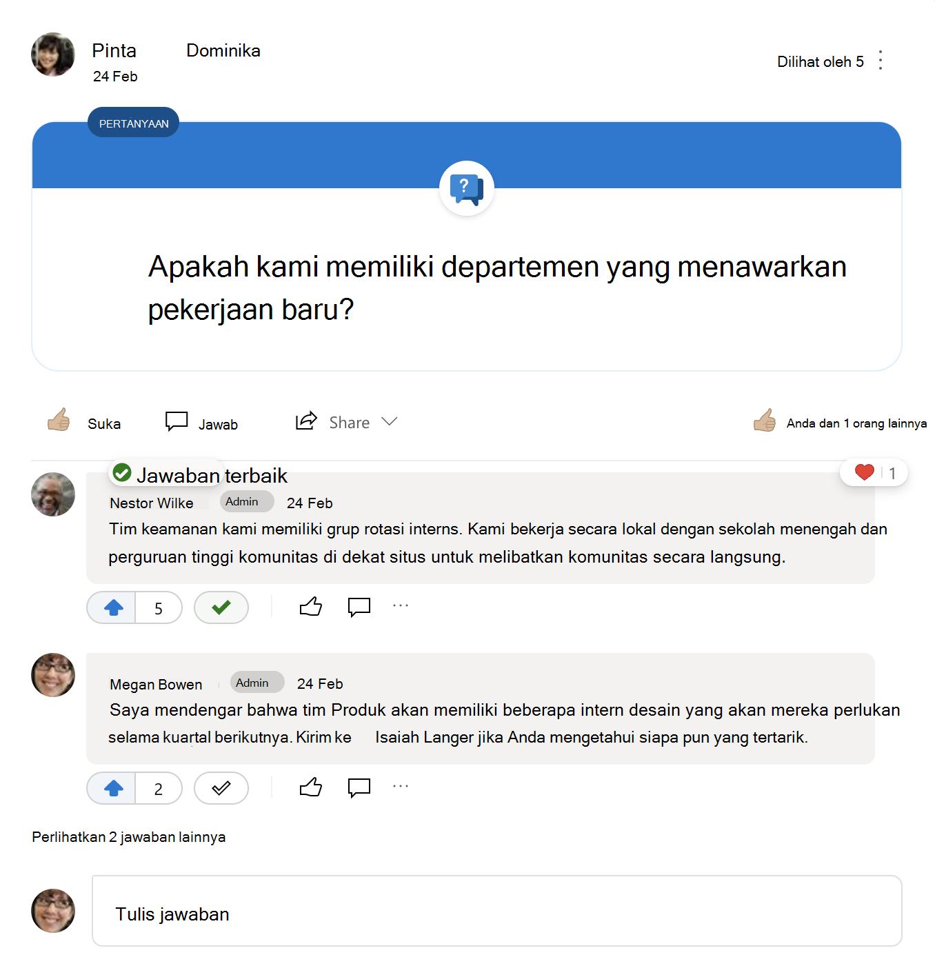 Jawaban terbaik untuk pertanyaan Yammer