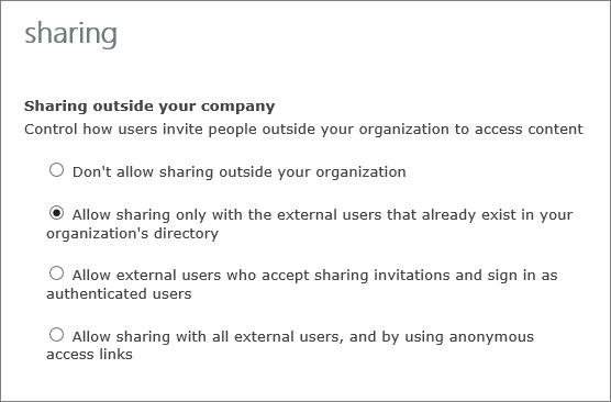 Opsi untuk berbagi dengan pengguna eksternal